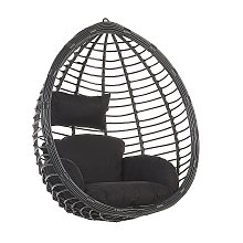 Modern Black Rattan Hanging Chair without Stand
