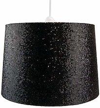 Modern Black Sparkling Metallic Glitter Dual