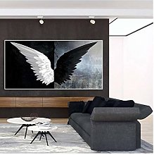 Modern Black White Feather Angel Wings Canvas