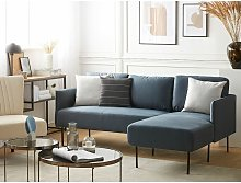 Modern Blue Fabric Couch Corner Sofa Metal Legs
