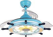 Modern Blue Rudder Fan Ceiling Light with Remote
