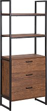 Modern Bookcase 3 Tier 3 Drawers Shelf Cabinet