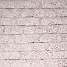 Modern Brick Wall Blush Wallpaper - Arthouse -