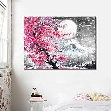 Modern Canvas Painting Cherry Blossom Landscape