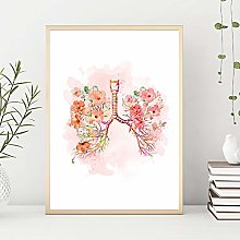 Modern Canvas Painting Lungs Flower Print Bronchi