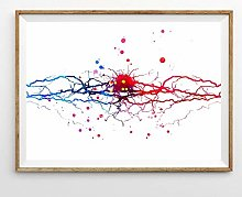 Modern Canvas Painting Neural Watercolor Print
