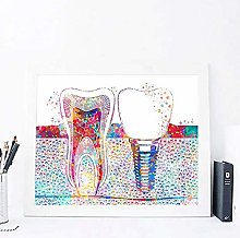 Modern Canvas Painting Tooth Implant Print Dentist