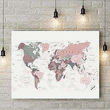 Modern Canvas Painting World Map Print Blush Pink