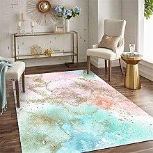 Modern Carpet, Abstract Fresh Ink Blue Powder Gold