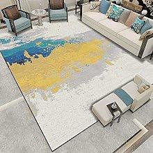 Modern Carpet, Abstract Fresh Yellow Blue Gray