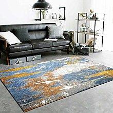 Modern Carpet, Abstract Golden Blue Gray Retro