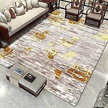 Modern Carpet, Abstract Golden Yellow Line