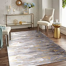 Modern Carpet, Abstract Lava Ink Yellow Gray Rug,