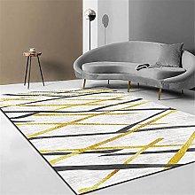 Modern Carpet, Black Gold Abstract Lines Cross