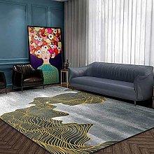 Modern Carpet, Chinese Ink Landscape Golden Lines
