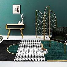Modern Carpet, Houndstooth Dark Green Geometric