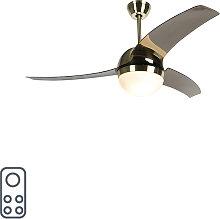 Modern ceiling fan brass with smoke blades - Bora