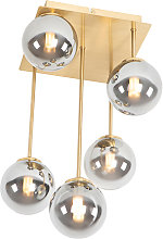 Modern ceiling lamp gold 5-light with smoke glass