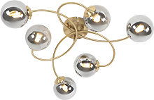 Modern ceiling lamp gold 6-lights with smoke glass