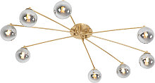 Modern ceiling lamp gold 8-lights with smoke glass