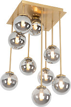 Modern ceiling lamp gold 9-lights with smoke glass