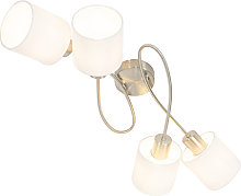 Modern ceiling lamp steel with white shades