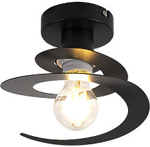 Modern ceiling lamp with black spiral shade -