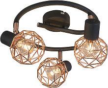 Modern Ceiling Spotlight Copper with Black - Mesh 3