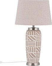 Modern Ceramic Bedside Table Lamp Beige with White