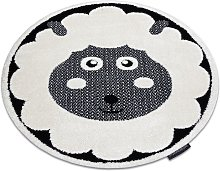 Modern children's carpet JOY circle Sheep, for children - structural two levels of fleece cream / black Shades of grey and silver round 160 cm