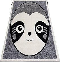 Modern children's carpet JOY Panda, for children - structural two levels of fleece grey / cream Shades of grey and silver 160x220 cm