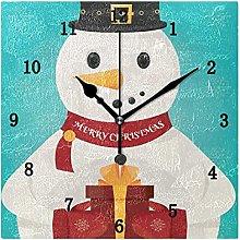 Modern Christmas Snowman Wall Clock, Silent Non