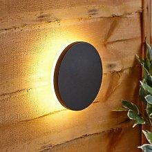 Modern Circle Black Outdoor Wall Light Up Down