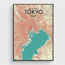 Modern City Map Canvas Painting Japan Tokyo Wall