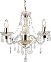 Modern Classic Clear & Gold Marie Therese 3 Light