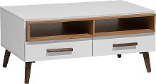 Modern Coffee Table White Solid Wood Legs Shelves