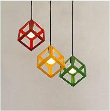Modern Colorful Pendant Light Cube Shape Hanging