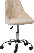 Modern Contemporary Beige Velvet Desk Office Chair