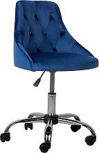 Modern Contemporary Cobalt Blue Velvet Desk Office