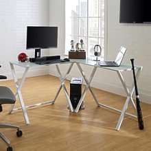 Modern Corner Desk in White with Glass Table Top -