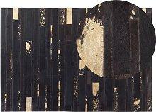 Modern Cowhide Area Rug Dark Brown Leather 140 x