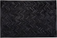 Modern Cowhide Leather Area Rug Patchwork Chevron