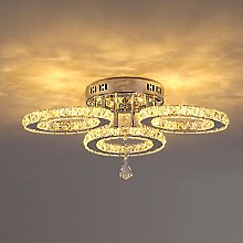 Modern Crystal Chandelier, 3 Rings Led Ceiling