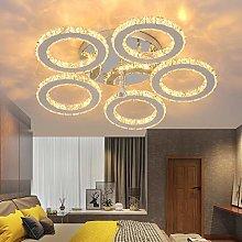 Modern Crystal Chandelier, 5 Rings Led Ceiling