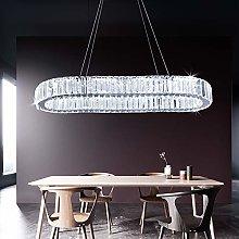 Modern Crystal Chandelier, Oval Led Ceiling Light