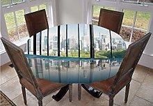 Modern Decor Round Tablecloth,Metropolitan
