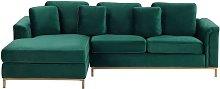 Modern Emerald Green Velvet Couch Corner Sofa Gold