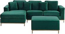 Modern Emerald Green Velvet Sectional Sofa with