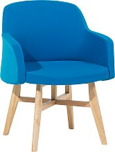 Modern Fabric Armchair Blue Polyester Upholstery