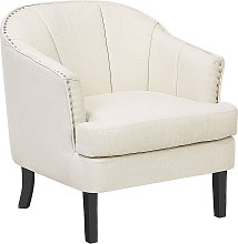 Modern Fabric Armchair Polyester Recessed Arms
